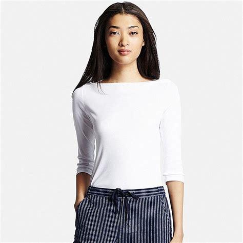 Boat Neck Sleeve T Shirt s supima 174 cotton 3 4 sleeve boat neck t shirt