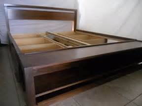 King Size Bed Frame With Storage Drawers Handmade King Size Bed Frame With Storage And Bench On