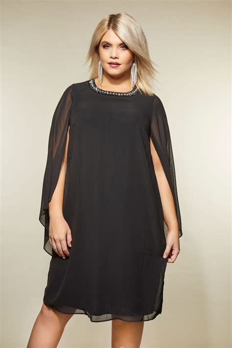 Napoclean Strong By Nry Fashion black embellished swing dress with wide split sleeves
