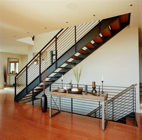 metal stair railings landscape contemporary with path