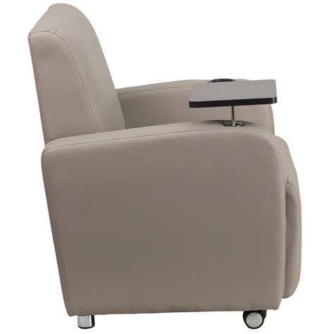 recliner with tablet arm gray leather guest chair with tablet arm front wheel