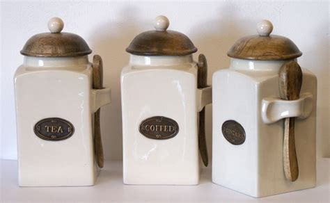 country kitchen tea coffee and sugar canisters each with a