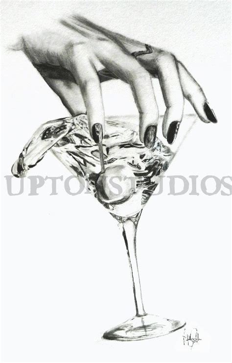 martini drawing martini glass pencil drawing print