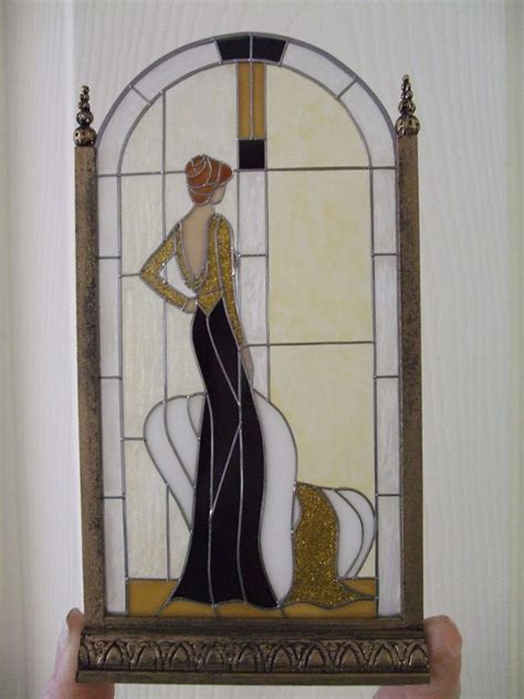 Glass Art Deco Lady L | dollhouse miniature art deco lady stained glass screen