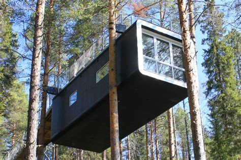 archi choong treehotel sweden prefabulous tree top cabin goes out on a limb at sweden s