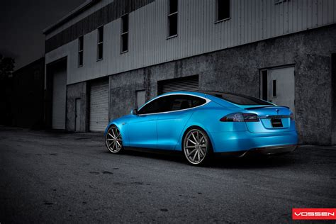 matte blue matte blue tesla model s on 22 inch vossen wheel