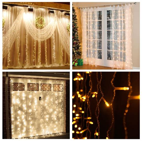 300 led warm white string curtain light lebefe 9 84ft x 9 84ft 300 led icicle curtain lights