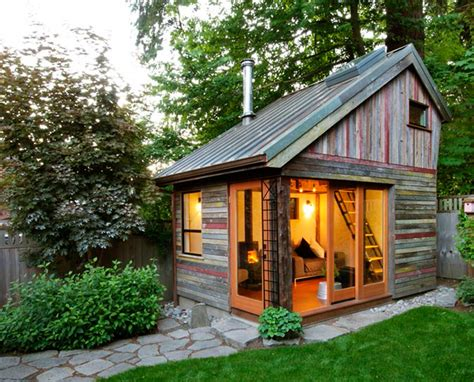 Backyard House by Rustic And Beautiful Backyard Micro House Is Built From Recycled Barnboard Inhabitat Green