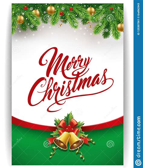 merry christmas gift card  traditional decorations stock vector illustration  gift