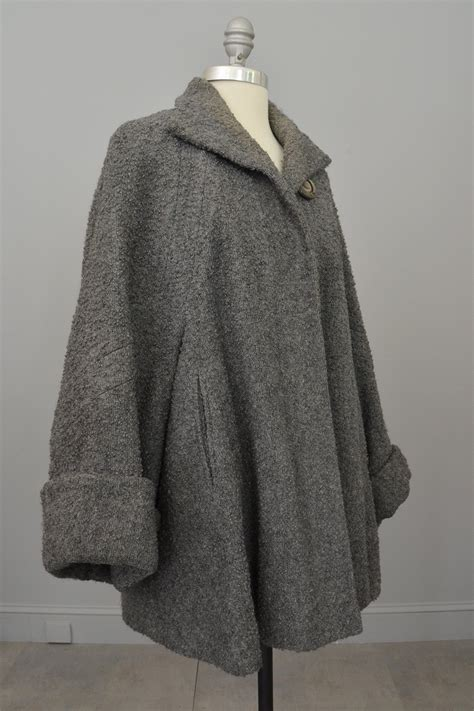 boucle swing coat 1940s grey boucle swing coat with cuffed bell sleeves