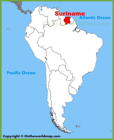 where is suriname on world map suriname location on the south america map