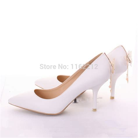 white pointed toe butterfly chain zapatos mujer