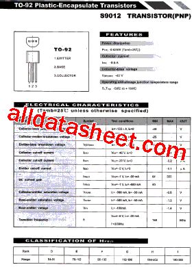datasheet transistor fcs 9012 s9012 数据表 pdf list of unclassifed manufacturers