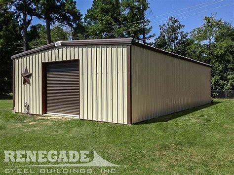tan metal building  dark brown trim  door workshop