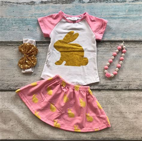 Set Gold Bunny Size 6 easter pink bunny gold sleeves baby skirt print cotton dress set summer