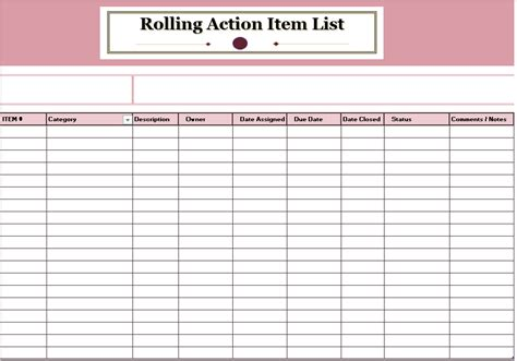 item checklist template rolling item list template ms office documents