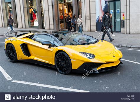 yellow lamborghini aventador uk 5 april 2016 a bright yellow lamborghini