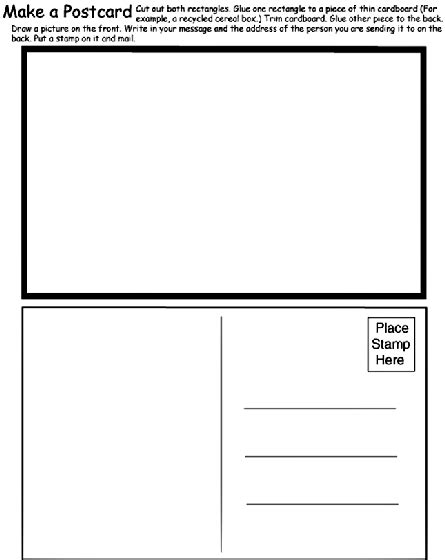 Postcard Template For Pages make a postcard coloring page crayola