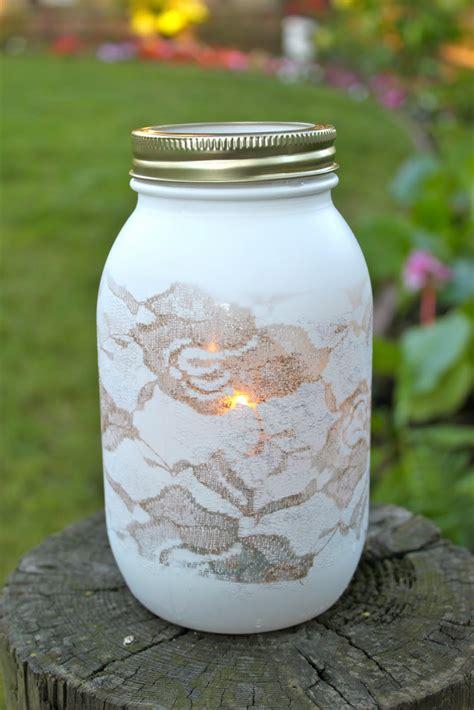 mason jar l diy love this spray painted over lace mason jar diy