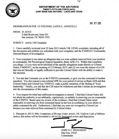 Command Sponsorship Letter Kadena Sidestepping Evidence General Dismisses Fired Commander S Appeal Q