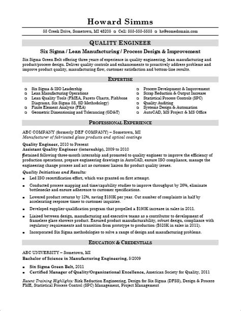 quality engineer resume format sle resume for a midlevel quality engineer