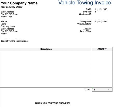 towing business plan template free tow service invoice template excel pdf word doc