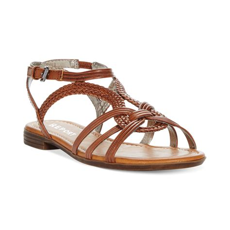 brown s sandals lyst report gilly flat sandals in brown