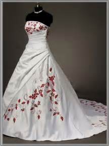 Your wedding day choosing strapless red and white wedding dresses will
