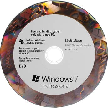 Windows Dvd 7 Original computers mall win 7 professional sp1 32 bit oem dvd