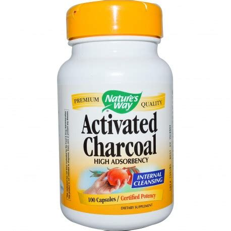 Charcoal Detox Pills by Activated Charcoal Nature S Way 100 Capsules Supplement