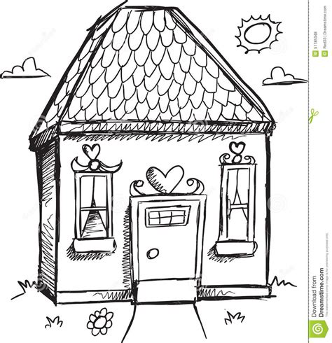 doodle sketch doodle house vector stock vector image 51185348