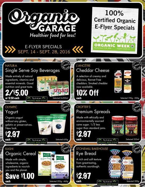 organic garage flyer organic garage canada flyers