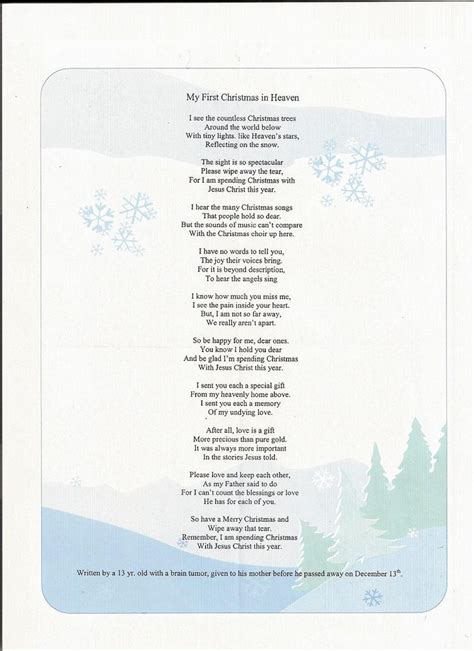 printable christmas in heaven poem first christmas in heaven poem printable search results