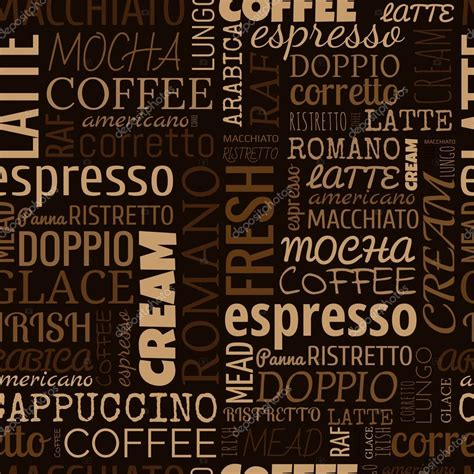 seamless pattern with words coffee words tags seamless pattern stock vector