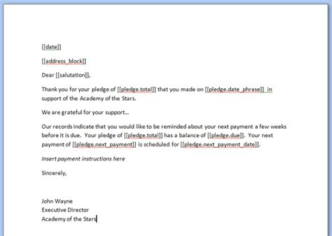 Pledge Payment Reminder Letter Sending Pledge Reminders Or Invoices Green Light Knowledge Base