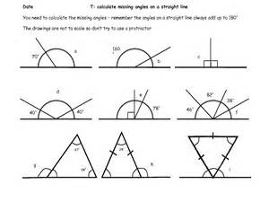 maths worksheets angles on a straight line