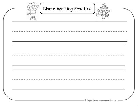 name writing template 18 best images of preschool name writing worksheets free