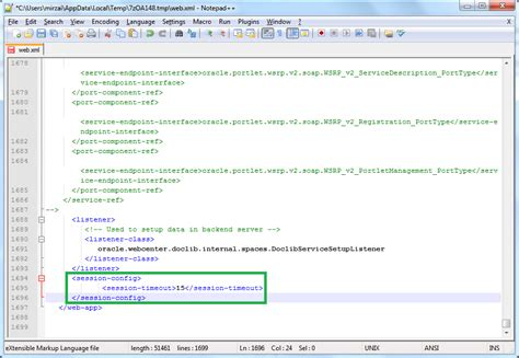 web xml jwebcenter how to change http session timeout for