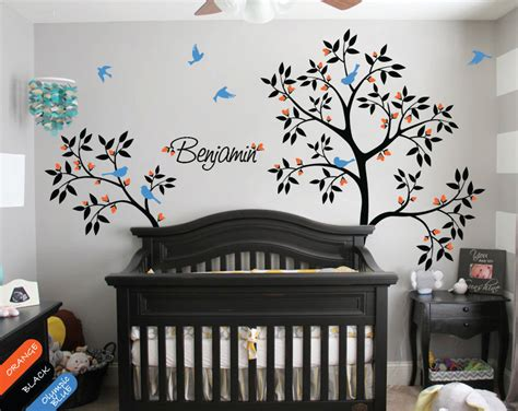 personalised nursery wall stickers personalized nursery tree wall decal with baby name flying