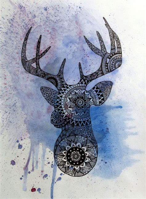 tattoo mandala deer original deer head painting mandala mosaic print by
