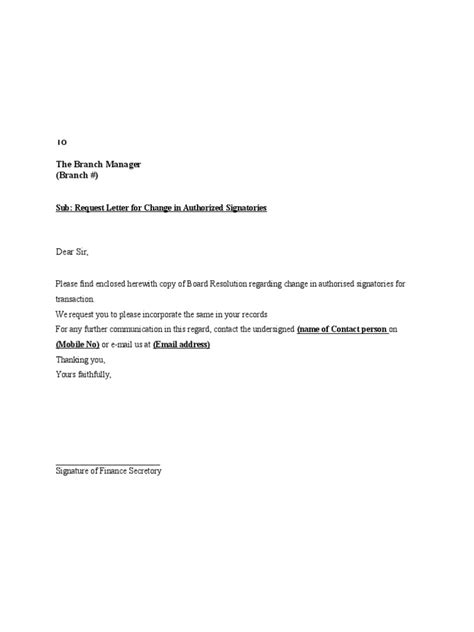 Request Letter Format For Adding Authorised Signatory Request Letter For Change In Authorized Signatories Doc