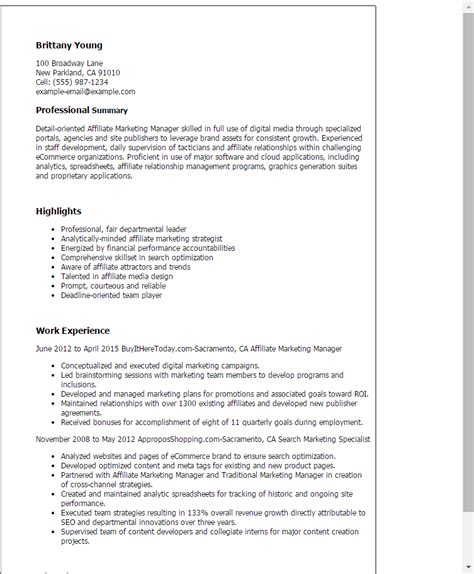 1 Affiliate Marketing Manager Resume Templates Try Them Now Myperfectresume Affiliate Marketing Email Templates