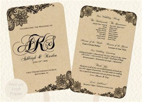 program paper templates wedding fan program template lace kraft rustic style print