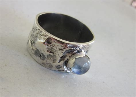 statement moonstone ring unique reticulated silver ring
