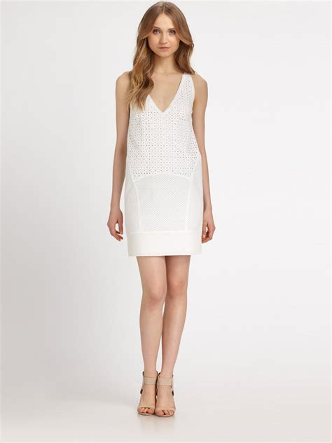 White Dress Pantai S lyst dkny cotton eyelet chemise dress in white