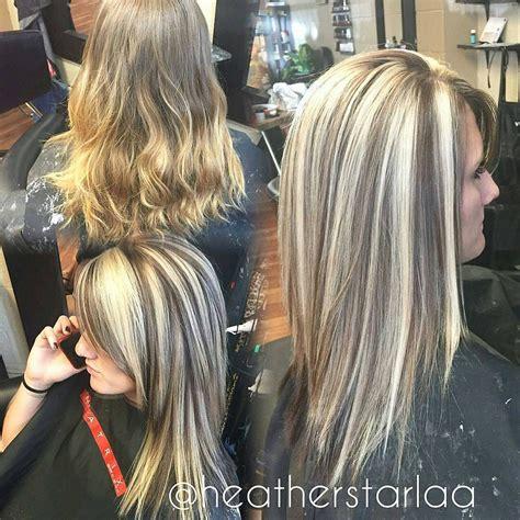 chunky blonde top dark under heavy blonde highlight with a dark brown lowlight and unde
