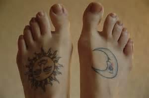 sun amp moon tattoo on feet