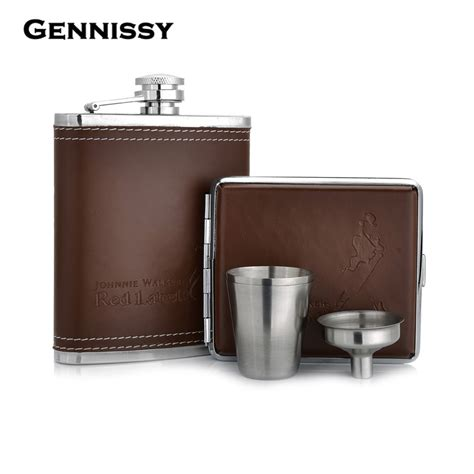 Stainless Steel Leather Cover Flask gennissy 7oz pu leather hip flask with cigarette stainless steel mini bottle