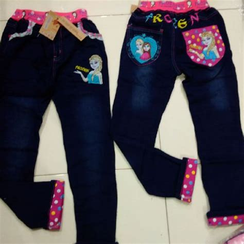 Dress Anak Import Soft Denim Uky celana frozen import