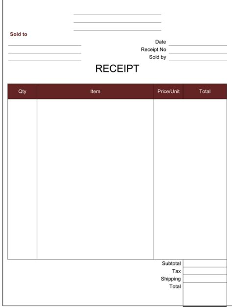 word receipt template receipt template 5 printable receipt formats